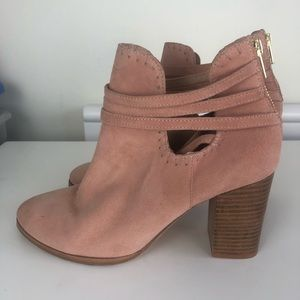 Anthropology faux suede booties, peach pink size 9